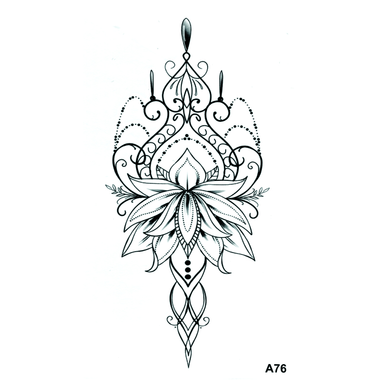 Lotus Crown Waterproof Temporary Tattoos Men Tatuagens Flower Tatoo Temporary Stickers Body Sticker Feminino Fake Tattoo Sleeve