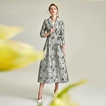 New Spring Autumn European Style Elegant Jacquard Women Trench Coat