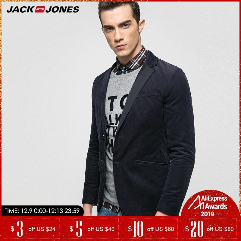Jack Jones Brand 2019 NEW Corduroy Slim Solid Color Single Breasted Casual Button Decoration Male Blazers |217108501