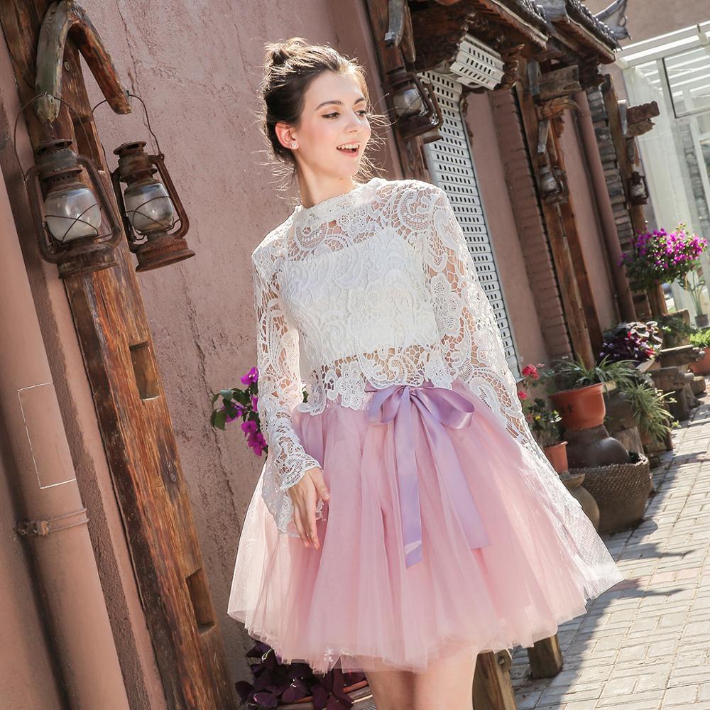 Women's High Waist Princess Tulle Skirt Adult Dance Petticoat A-line Wedding Party Tutu 7 Layers Midi Lolita Faldas Saia