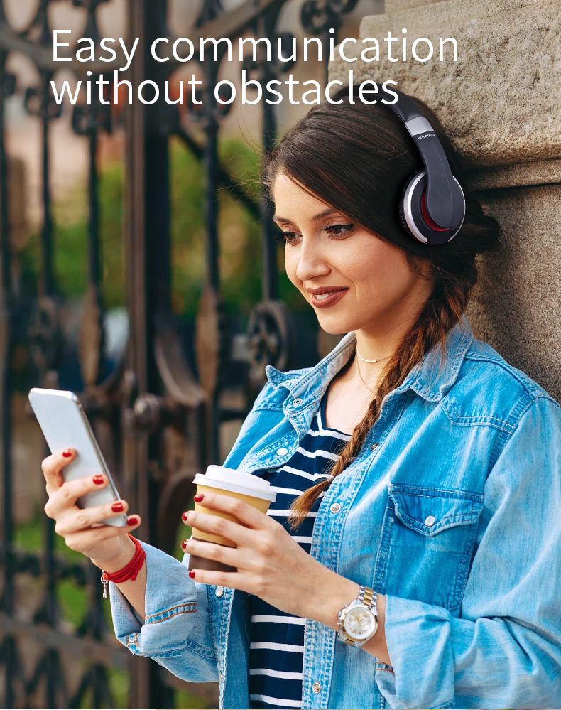 Wireless Headphones with Microphone and FM Radio