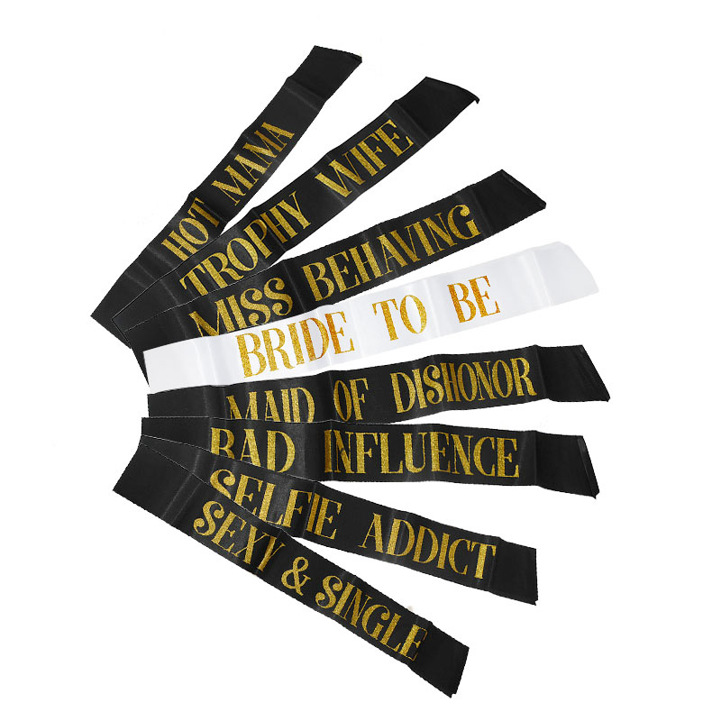 White Black Hot Mess Mama Bride To Be Sash Stain Bachelor Party Wedding Bridal Bachelorette Party Decoration Hen Party Ribbon in Party DIY Decorations from Home Garden