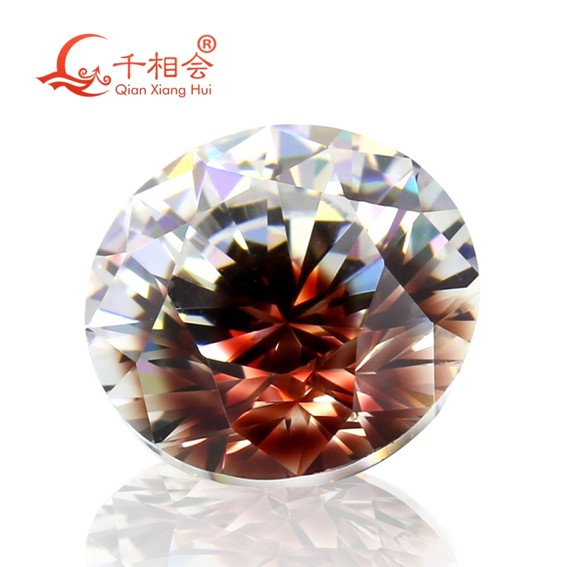Eyes stone Round shape cubic zirconia special color one-time forming multi brown white  cz loose stone