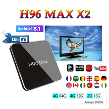 Belgium smart console android 8.1 tv box H96 MAX x2 H.265 1080P 4K Smart media player 4GB 64GB support youtube H96MAX S905X2 smart tv box android 8 1 h96 max x2 amlogic s905x2 4k media player 4gb 64gb h96max ddr4 tv box quad core 2 4g