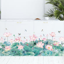 Китайские настенные Стикеры лотос зеленые растения обои гостиная