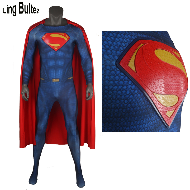 Ling Bultez High Quality Muscle Shade Superman Costume With Relif Logo Man Of Steel Superman Cosplay Outfit U Zipper
