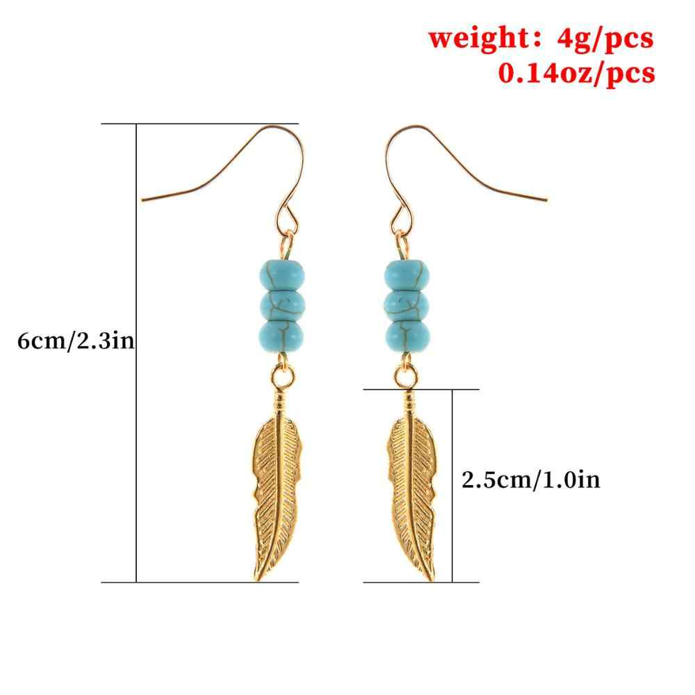 Individual Feather Beaded Blue Ear Hook Alloy Gold Personality Ear Hook Creative Design Earrings Ladies Banquet Ornament