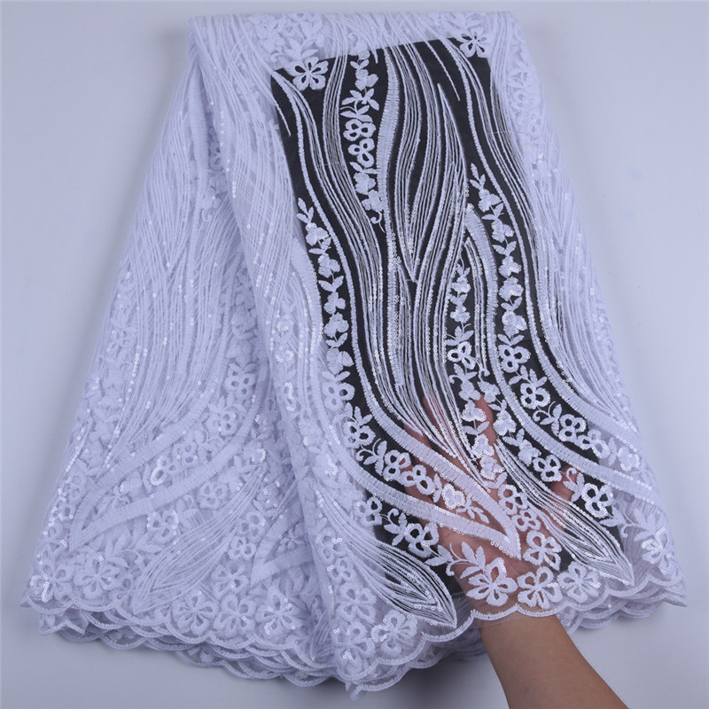 Pure White Sequins Milk Silk Lace Nigerian Lace Wedding Garment African Lace Fabric High Quality French Tulle Lace Fabric A1686