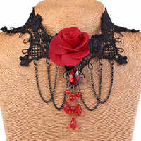 Vintage Collares Spitze Gothic Kristall Drüse Choker Halsband Halskette Rote Rose Blume Tattoo Schmuck Frauen