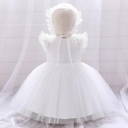 Платье для маленьких девочек, платья для крещения для девочек на 1-й день рождения, свадебное белое платье принцессы для новорожденных