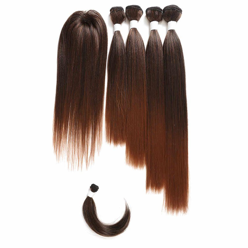 Ombre Coklat Yaki Rambut Sintetis Lurus Bundel dengan Penutupan Bang 6 Buah/Bungkus Rambut Ekstensi untuk Penuh Kepala 12-18inch SOKU