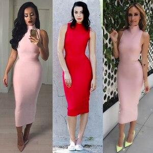 Image 5 - INDRESSME Midi Women Bandage Party Summer Dress Fashion Turtleneck Sleeveless Bodycon Dress Vestidos Wholesale 2020