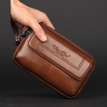 CHEER SOUL Genuine Leather Men Clutch Bags Belt Waist Bags Phone Pouch Key Card Holder Wallet Man Purse Male Business Handy Bags