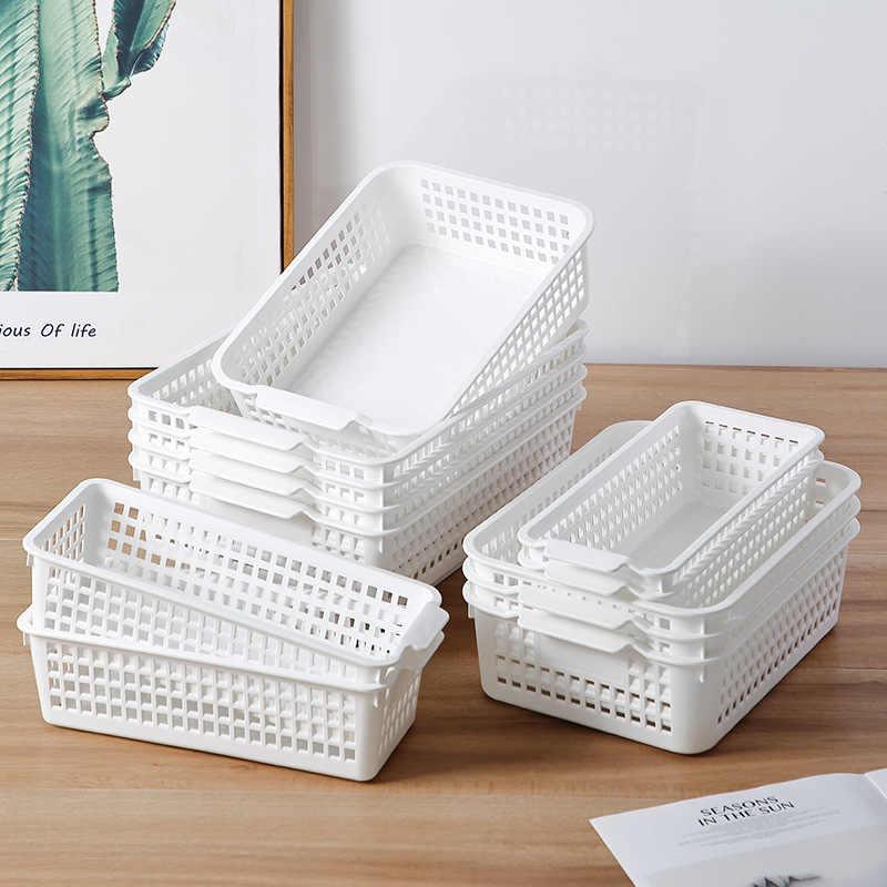 Semplice Snack Desktop di Cestino di Immagazzinaggio di Plastica Per Uso Domestico Rettangolare Box Hollow Out Bagno di Stoccaggio di Stoccaggio di Articoli Vari Cesto di Sub-