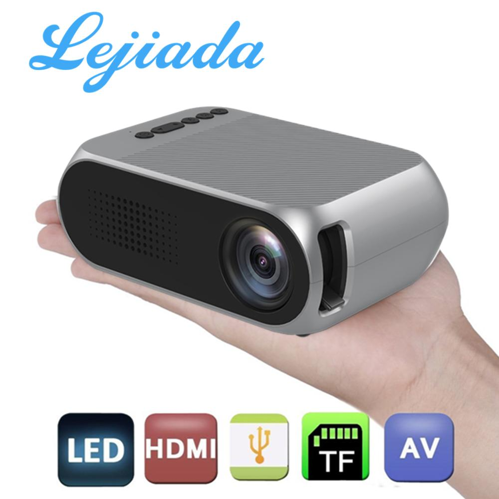LEJIADA YG320 LED Mini Portable Projector 600 Lumen 3.5mm Audio Support 1080P HD Playback HDMI USB Home Media Player