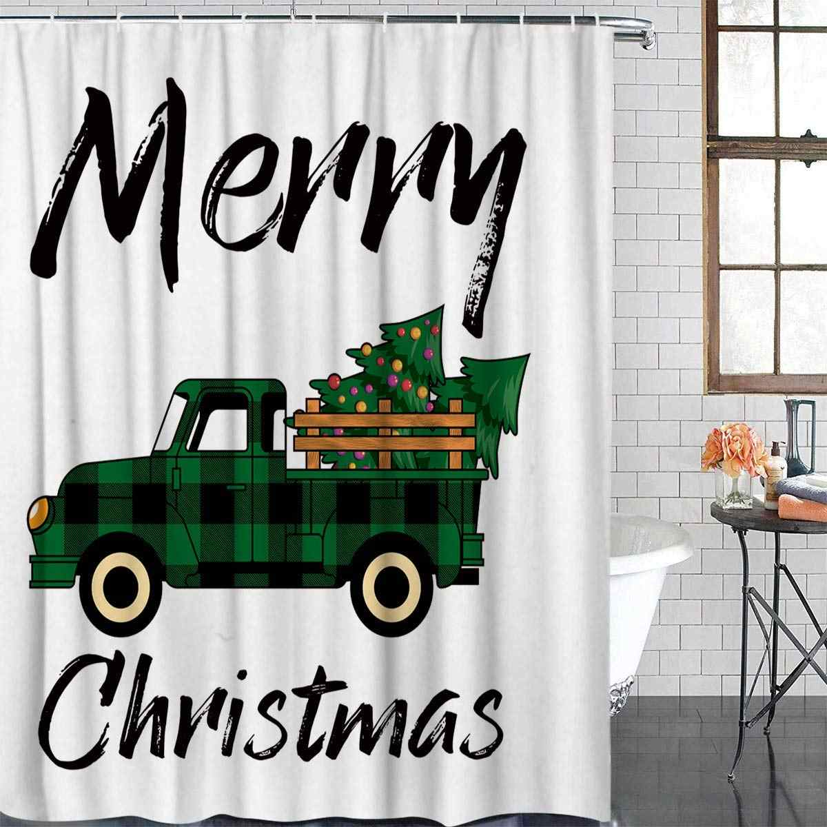 Buffalo Check Plaid Truck Christmas Green Waterproof