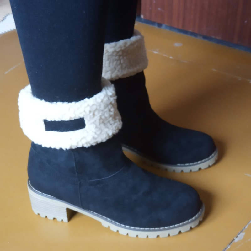 2020 New Women Winter Snow Warm Boots 5cm High Heels Fur Felt Russia Jeans Boots Block Low Heels Plush Ankle Booties Cheap Shoes 1