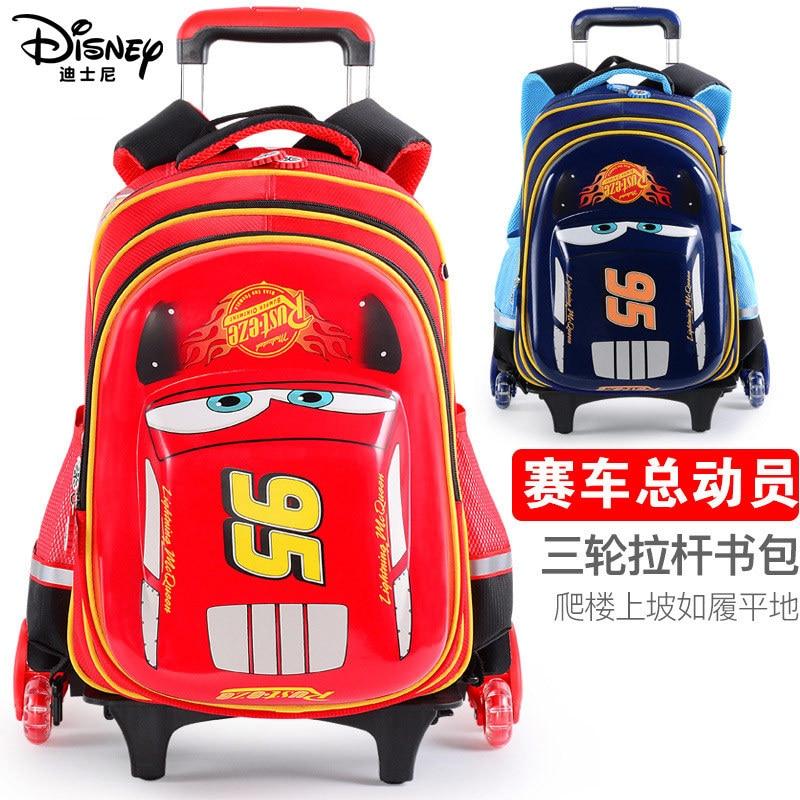 Authentic Disney Schoolbag Pupils Car Lightning McQueen Can Climb Stairs Three-wheeled Trolley Schoolbag Boy Gift School Bags