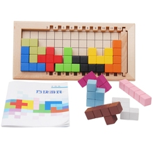 цены Colorful Wooden Tangram Tetris Game Brain Teaser Puzzle Toys Baby Preschool Magination Early Educational Kids Toy