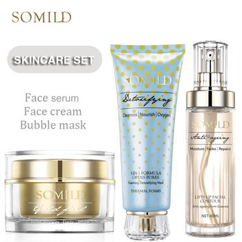 SOMILD Korean SkinCare Set Treatment Detox Bubble Mask Anti Aging Wrinkle Remove Face Cream Whitening Moisturizing Facial Lotion 1