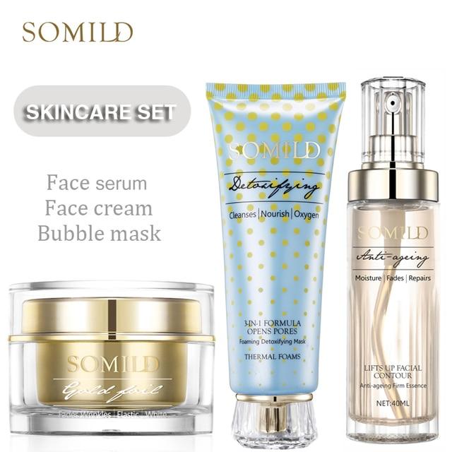 SOMILD Korean SkinCare Set Treatment Detox Bubble Mask Anti Aging Wrinkle Remove Face Cream Whitening Moisturizing Facial Lotion 1