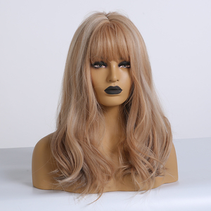Image 4 - ALAN EATON Brown mix Blonde Ash Wig with Bangs Natural Wave Wigs for Women Midium Bob Synthetic Hair wigs Lolita Cosplay Wigs