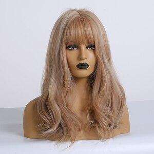 Image 4 - ALAN EATON коричневый микс блонд пепельный парик с челкой натуральные волнистые парики для женщин Midium Боб синтетические волосы парики Лолита косплей парики