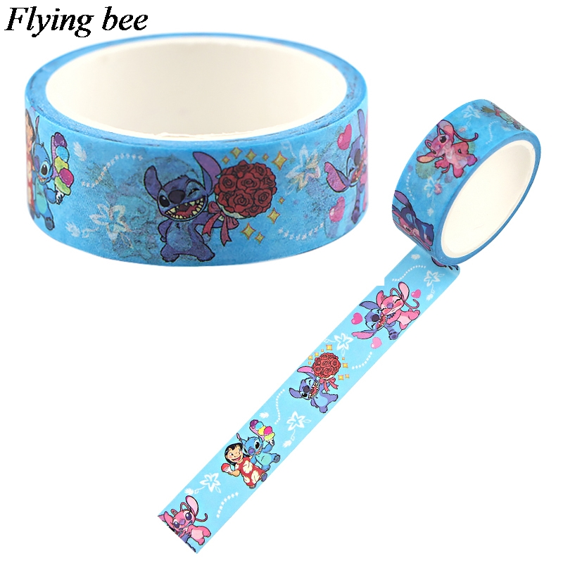 Flyingbee 15mmX5m Paper Washi Tape  Cute Adhesive Tape DIY Scrapbooking Sticker Label Masking Tape X0774