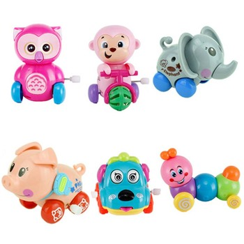 1Pc Wind Up Toys Cute Cartoon Animal Clockwork Jumping Walking Kids Educational Toy for Children Baby Gifts Random Color недорого