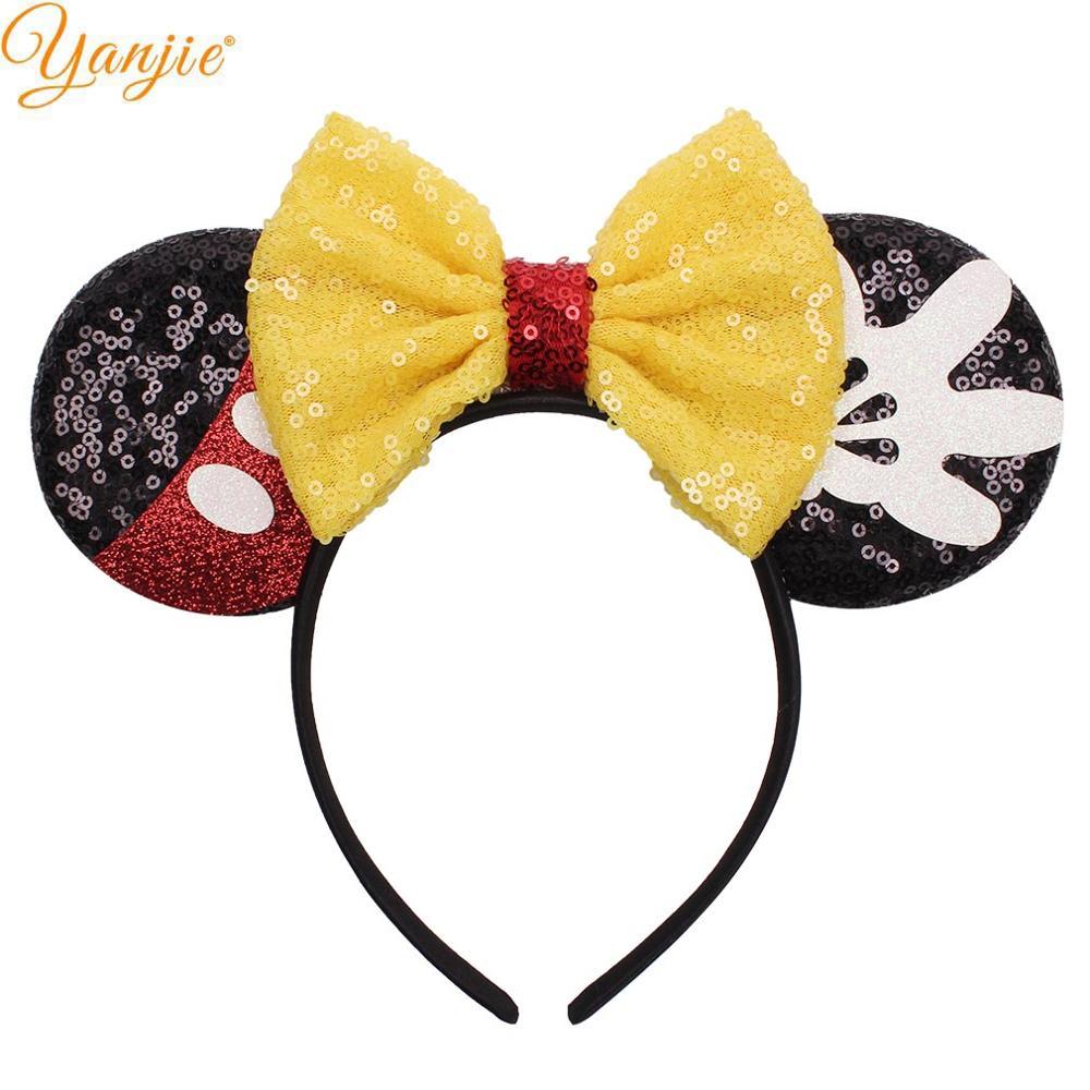 Black sequin minnie mouse ears headband ear hair band costume mickey sparkly
