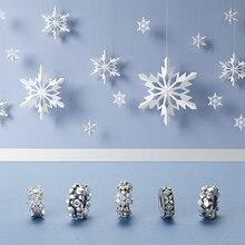Bracelet à breloques Original européen, en argent Sterling 2021, perles flocons de neige éblouissantes, CZ Fit, nouveau, 925