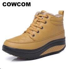 Cowcom primavera alta up algodão sapatos de couro sapatos de balancim sapatos femininos de sola grossa lazer respirável tênis de corrida cyl