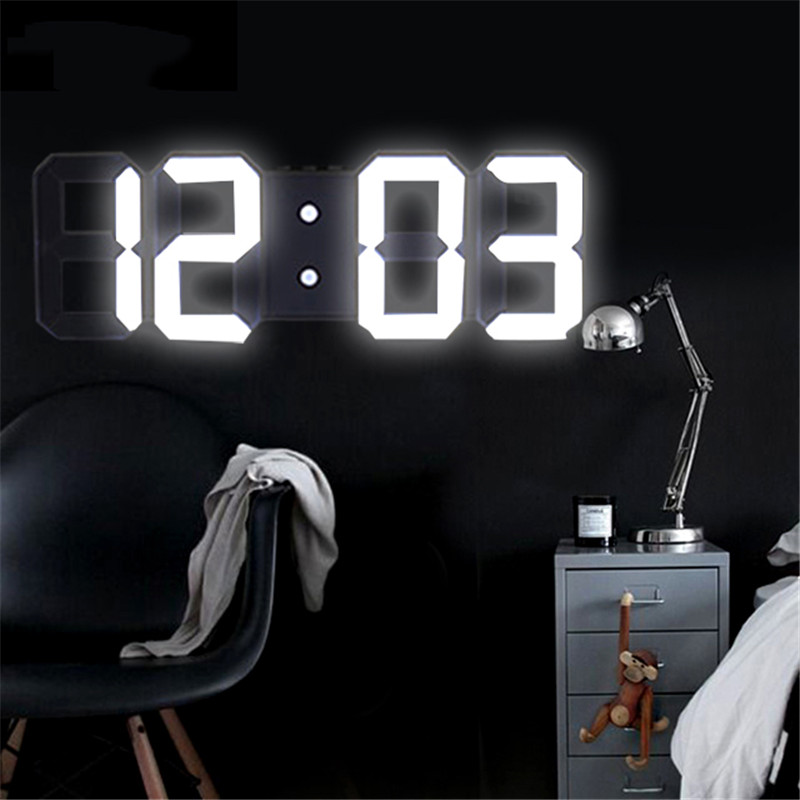 Home Living Room Decoration 3D Large LED Digital Wall Clock Date Time Electronic Display Table Alarm Clock Wall Home Decor