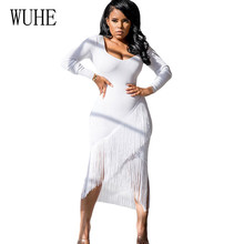 цены WUHE New Women Autumn Tassel Dress Elegant Club Party Dresses Sexy Hollow Out Long Sleeve Tassel Embellished Mini Fringe Dress