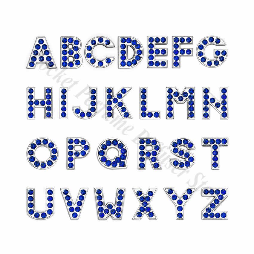 1pc A-Z 8mm 진한 파란색 라인 석 슬라이드 편지 맞는 DIY 팔찌 & 팔찌 애완 동물 목걸이 쥬얼리 여성을위한 만들기