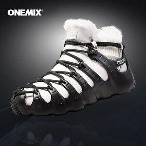 Image 1 - Gorące Onemix zimowe męskie buty trekkingowe antypoślizgowe buty do chodzenia wygodne ciepłe odkryte trampki dla kobiet buty zimowe