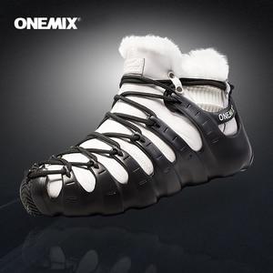 Image 1 - Hot Onemix Winter Mens Trekking Shoes Anti Slip Walking Shoes Comfortable Warm Outdoor Sneakers For Women Winter Keeping Shoes