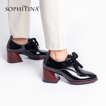 SOPHITINA Mature Women Pumps Office Handmade Lace Up Round Head Square Heel Shoes Leisure Comfortable Women's BY242 - discount item  50% OFF Women's Shoes