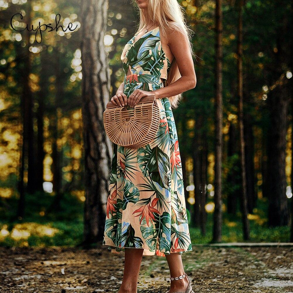 CUPSHE Elegant V Neck Women Midi Dress Spaghetti Strap 2019 Sleeveless Beach Vestidos Floral Print Sundress