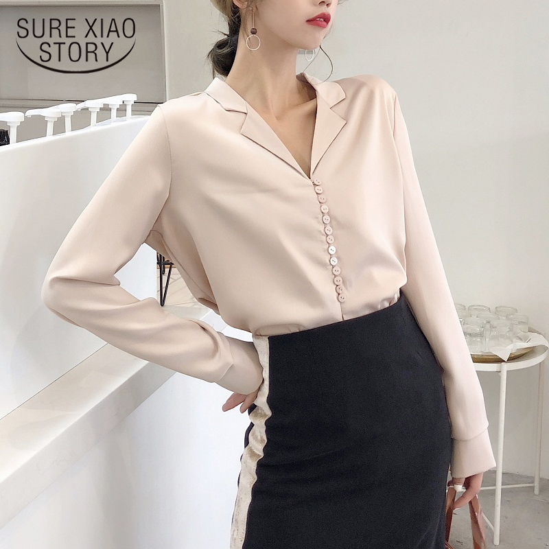 Autumn 2019 Elegant Korean Style Women Sexy V Neck Long Sleeve Blouse  Tops Vintage Satin Silk Blouse Shirts For Women 5272 50