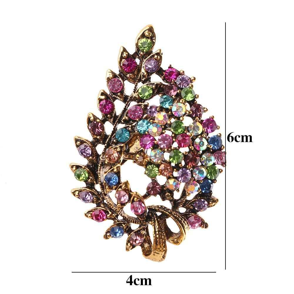 Multi-Warna Biru Kristal Berlian Imitasi Bunga Daun Bros Pin Antik Vintage Kancing Pakaian Aksesoris Perhiasan