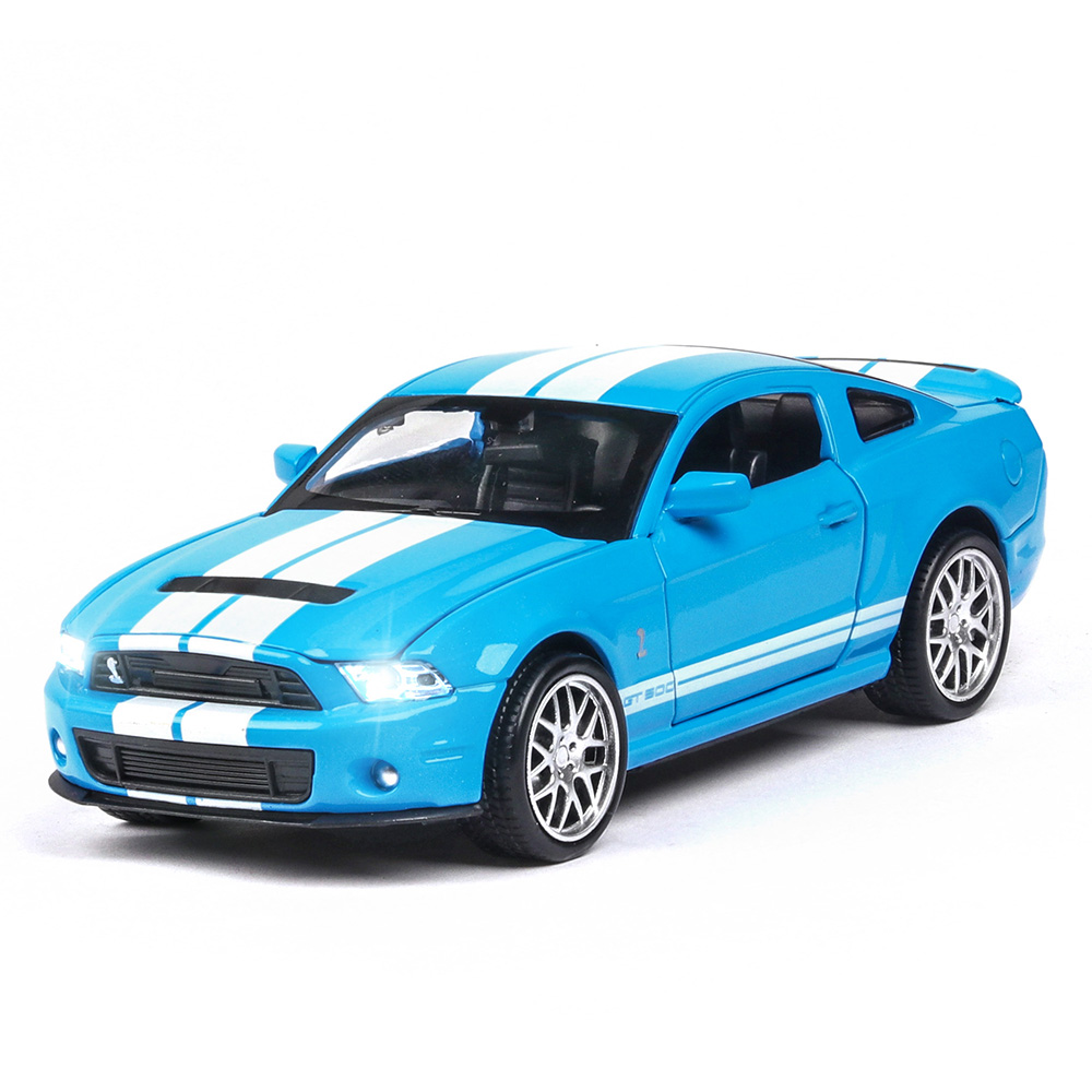 High Simulation Alloy Diecast 1:32 Toy Vehicles Mustang Shelby GT500 Car Model Metal With Sound Light Pull Back Toy Car Chevrole