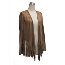 Outdoor Womens Hippie Suede Tassel Warm Jacket Dark Cardigan Coat Outwear
