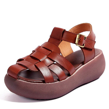 DRKANOL Retro Women Sandals 2020 Wedge Platform Gladiator Sandals For Women Summer Shoes Genuine leather High Heel Sandal Female