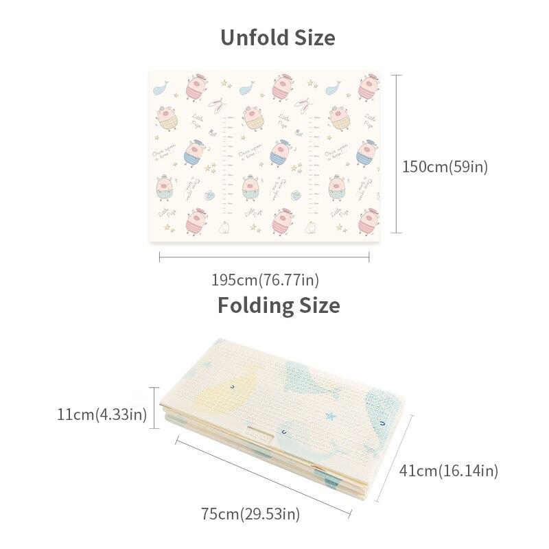 BabyGo bébé pliable tapis de jeu XPE insipide Double côtés tapis ramper épaissi actif jouer couverture bébé chambre ramper Pad150 * 195CM - 5