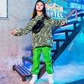 Костюм для джазовых танцев в стиле хип-хоп  флуоресцентные зеленые штаны для девочек  одежда для Черлидинга  Детская уличная Одежда для танц...