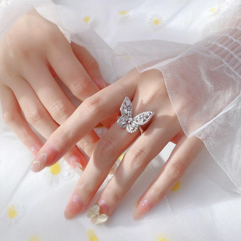 Большая бабочка 925 стерлингового серебра для женщин кольцо Young Циркон регулируемый браслет ювелирные изделия простой женский подарок милые романтические розы для подруги|Кольца| | АлиЭкспресс