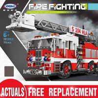 XINGBAO 03031 City Series The Aerial Ladder Fire Truck Set Children Building Blocks Bricks Educational Toys Birthdays Boy Gifts