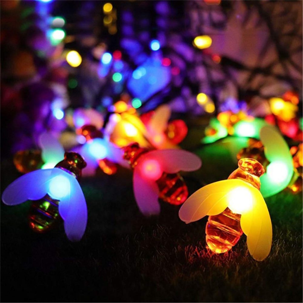 New Bee Solar String Lamp 20/30/50/60LED Energy-light Outdoor Lamp For Garden Party Fence Patio Christmas Holiday Home Light