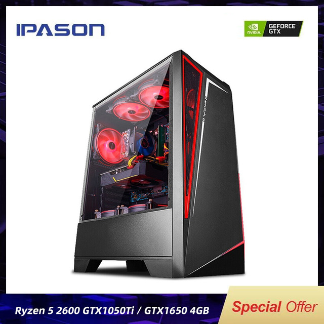 IPASON Battlefield S5 Gaming Computer R5 2600 8G 256G 1050TI/1650/1660S Desktop Assembly Machine Complete PC For Gta5/PUBG/LOL 1